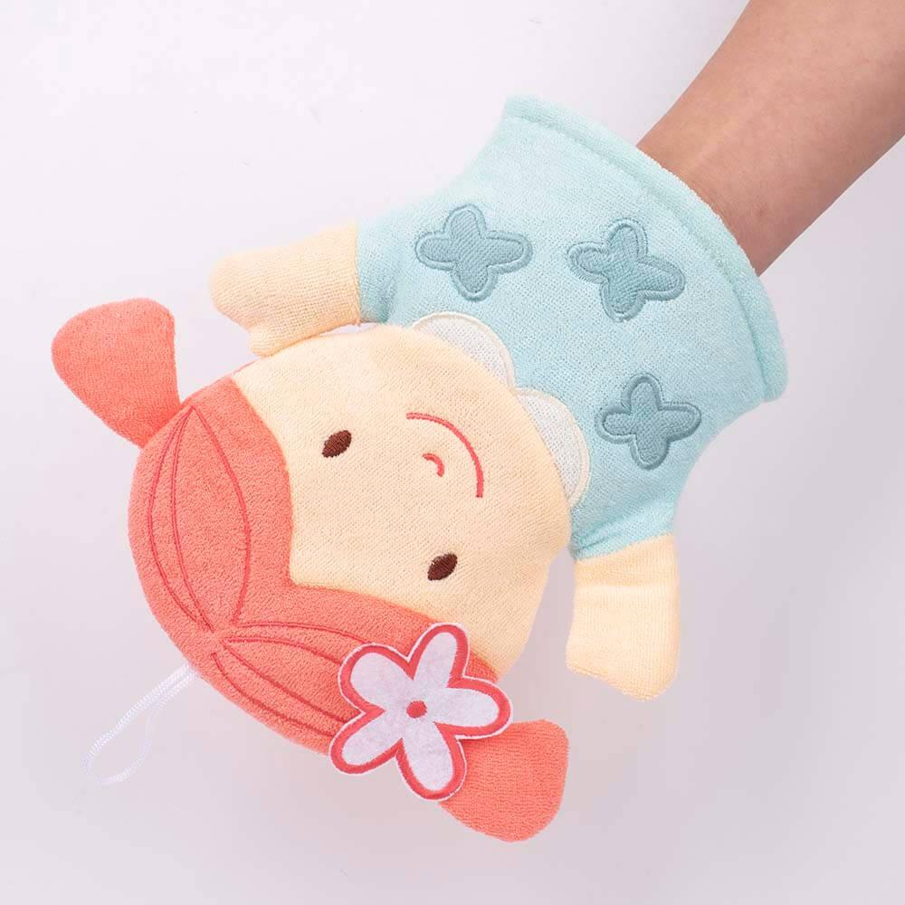exfoliating baby soft cotton washcloths shower glove pink girl dc-bm005c