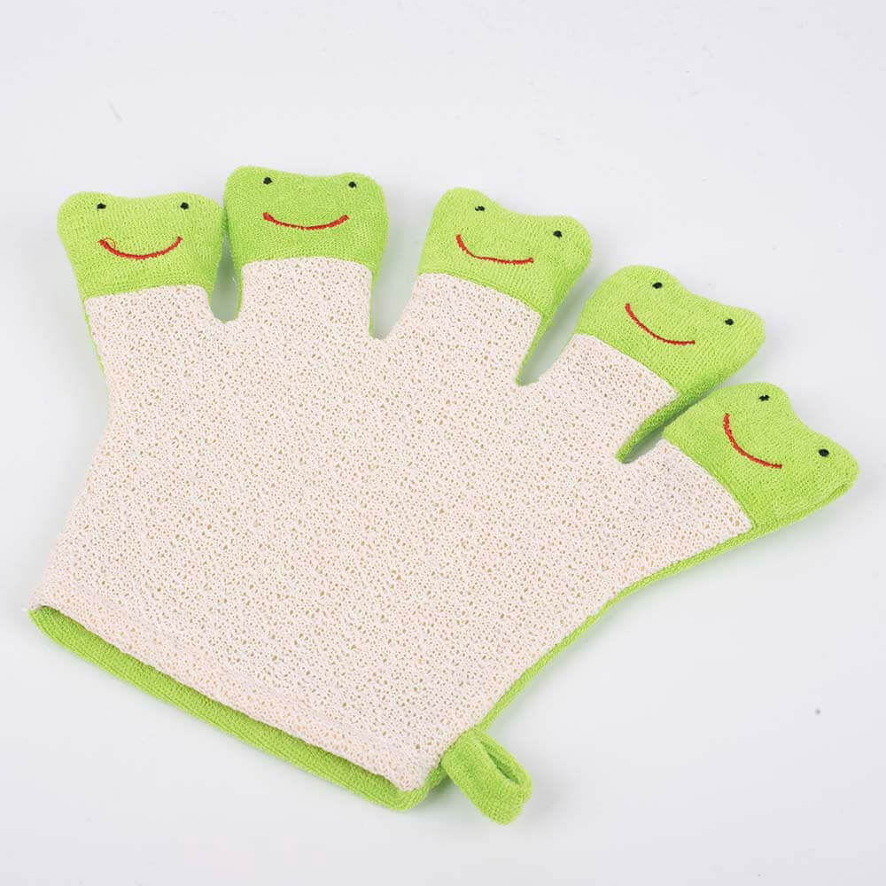 green frog terry cloth bath puppet cartoon bath mitt dc-bm001c