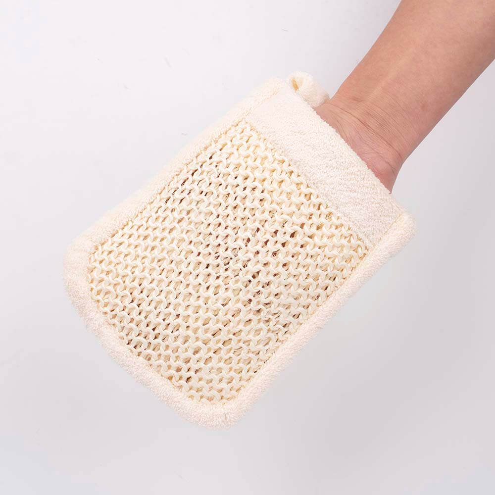 sisal terry spa bath mitt natural fiber shower sponge dc-bm047